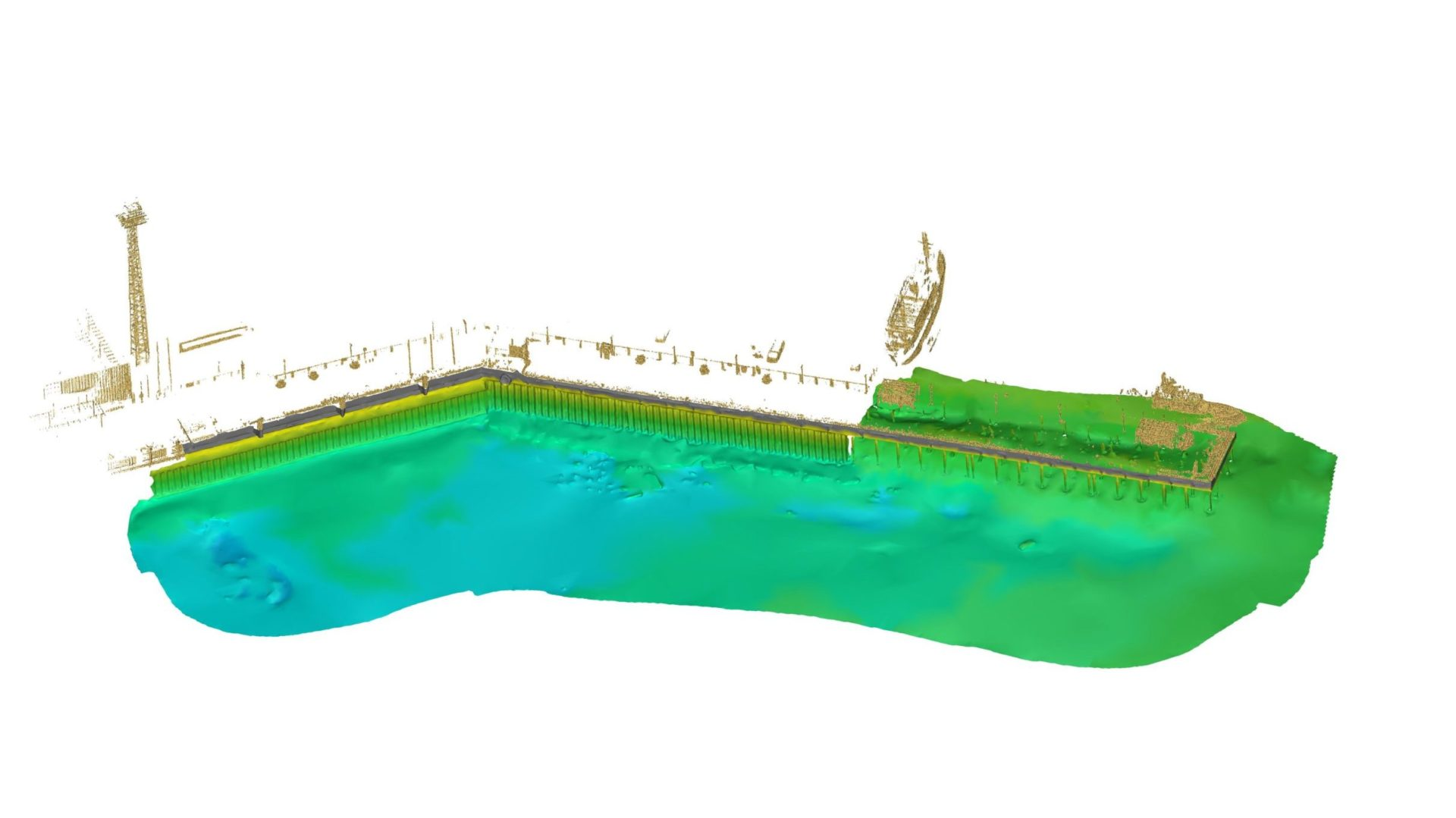 Combined MBES and LIDAR scan of pier EPL at Helsinki port